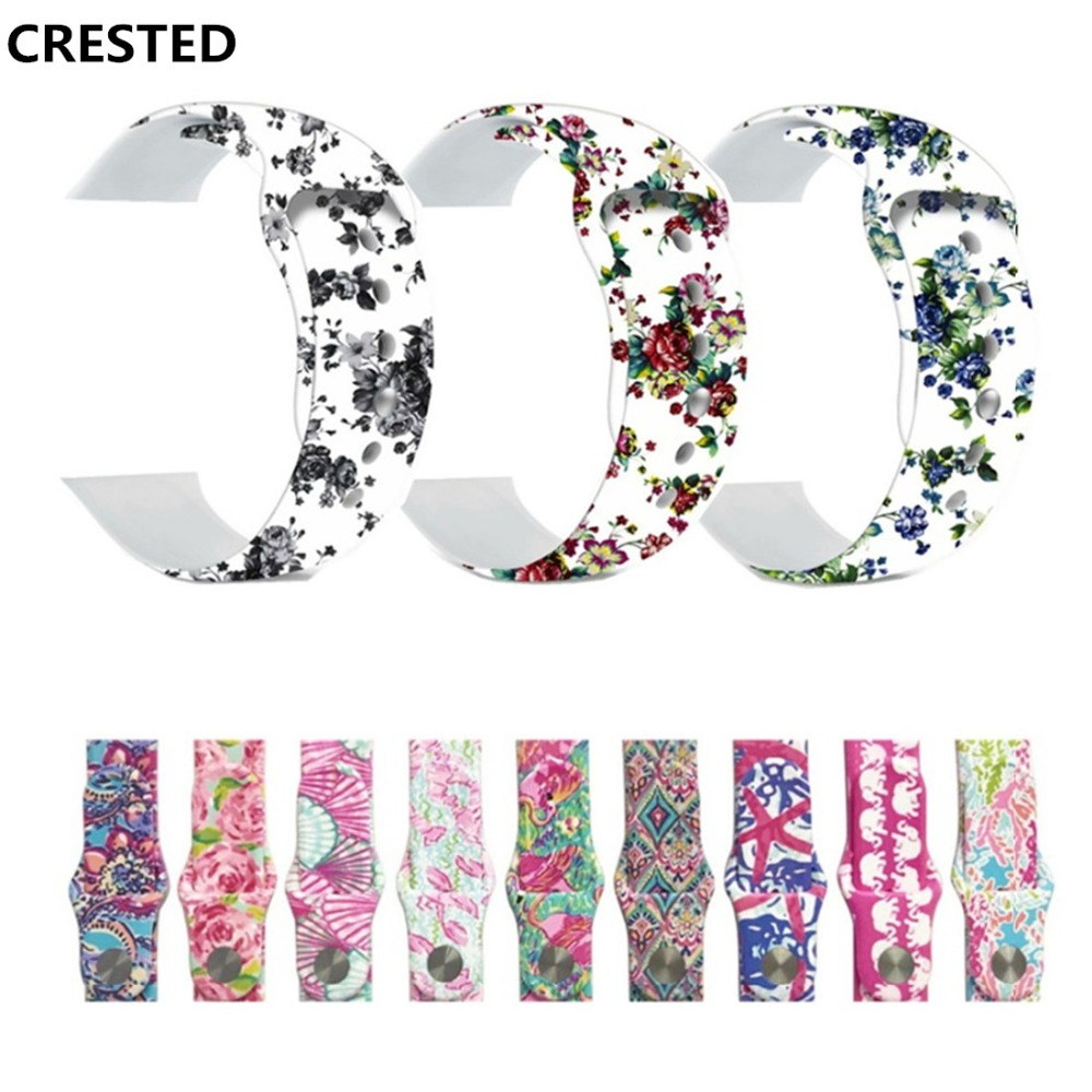 CRESTED Sport strap For Apple watch 4 band 44mm 40mm silicone iwatch series 4 3 2 1 42mm/38mm flower wrist bracelet belt correaCRESTED Sport strap For Apple watch 4 band 44mm 40mm silicone iwatch series 4 3 2 1 42mm/38mm flower wrist bracelet belt correa