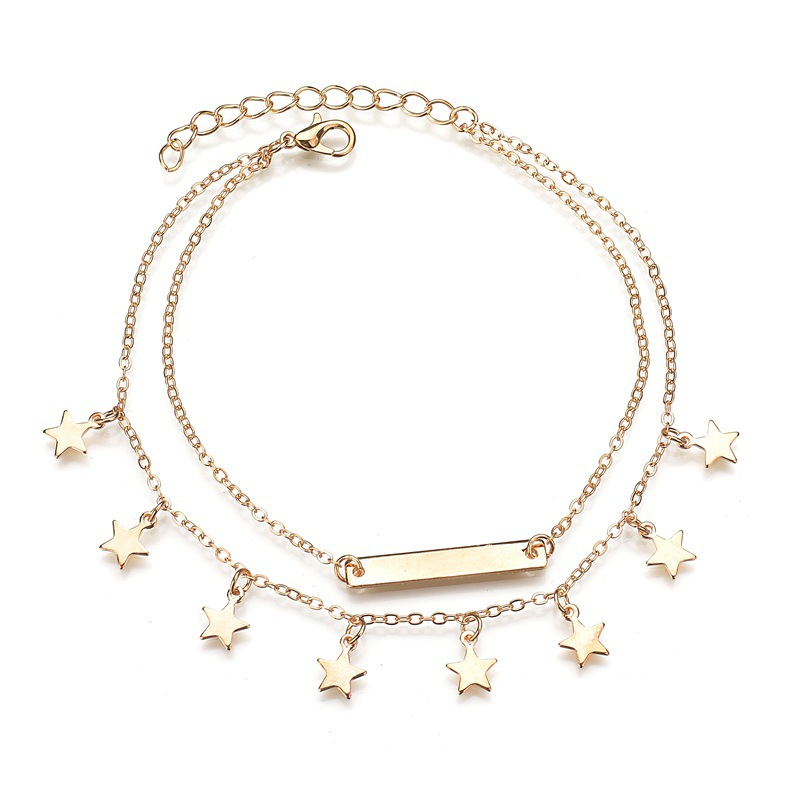 Fashion Double Layer Anklet Star Tassels Pendant Foot Chain Woman Boho Ankelt Foot Bracelet On The Leg Jewelry for Women's Gifts 1