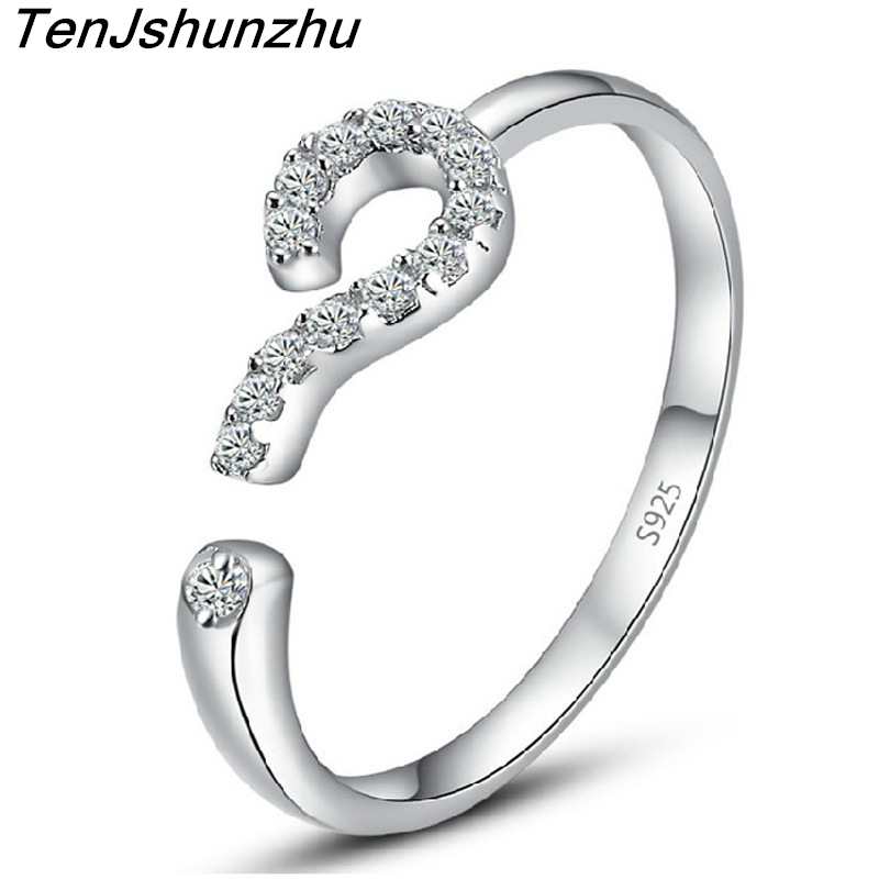 New arrival fashion question mark 925 sterling silver unisex adjustable finger rings jewelry Drop Shipping jz138