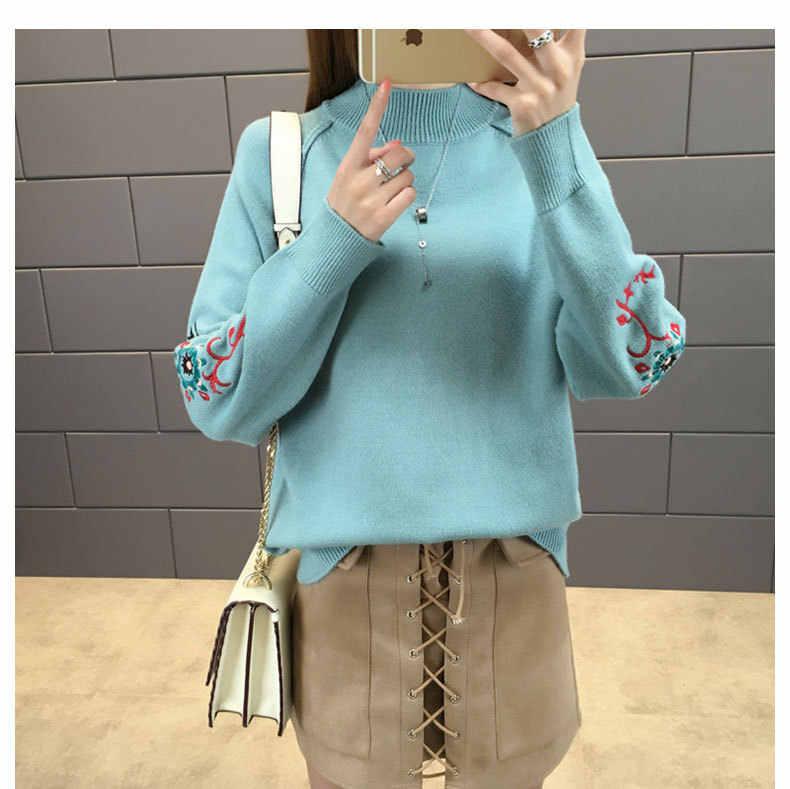 Зимний женский свитер с вышивкой, вязаный пуловер 2019, водолазка с длинным рукавом, женские свитера и пуловеры, повседневный джемпер, топы