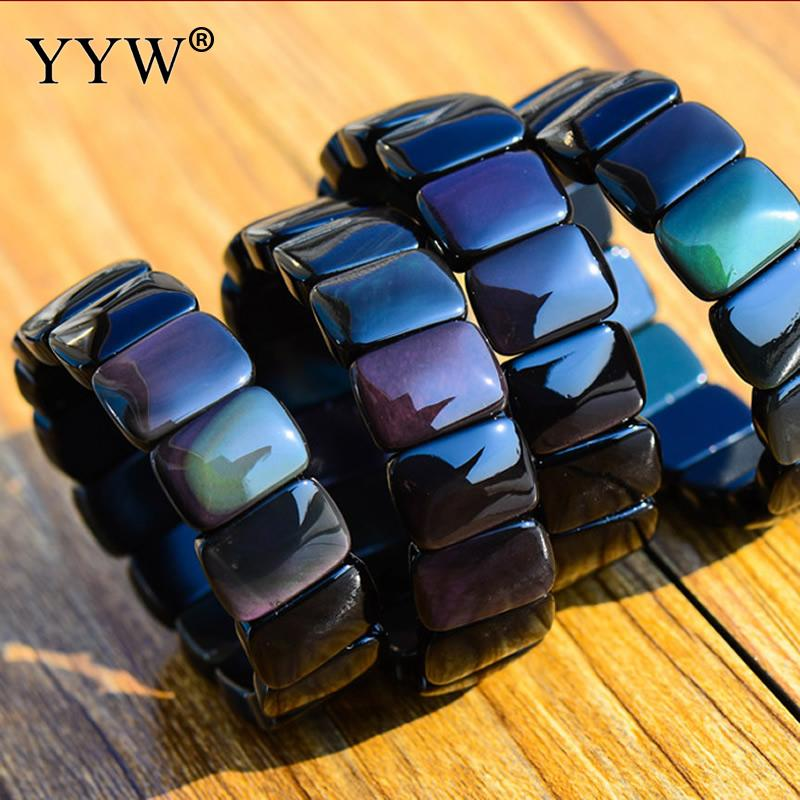 YYW New Design 1Strand Natural Obsidian Bracelet Stone Rectangle Beads Bracelet Bangle For Men & Women Valentine'S Gift 7inch stylish golden hollow rounded rectangle hasp bracelet for women