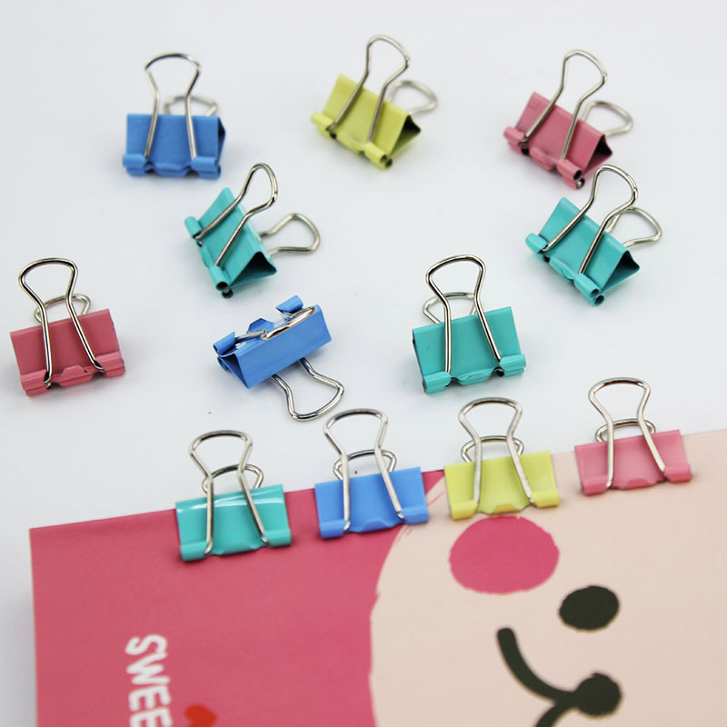 60 PCS/lot Colorful Metal Binder Clips Paper Clip 15mm Office School Stationery Binding Learning Supplies Color Random