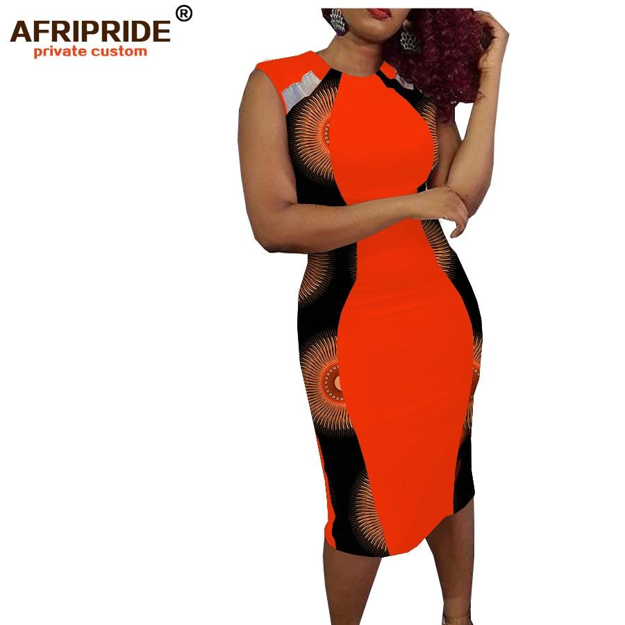 2019 summer africa print casual dress for women AFRIPRIDE sleeveless knee length chiffon hollow out women