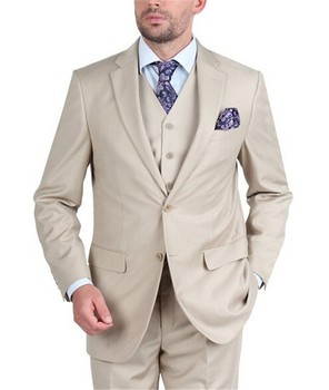 Custom Made Groom Tuxedo Beige Groomsmen Notch Lapel Wedding/Dinner Suits Best Man Bridegroom (Jacket+Pants+Tie+Vest) B459