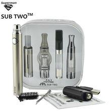 -Dos de hierba seca vaporizador Evod 4 en 1 E-cigarrillo 1100mah Evod batería 4 atomizadores para aceite de cera Herb CDB Vapor cigarrillo electrónico Kit de