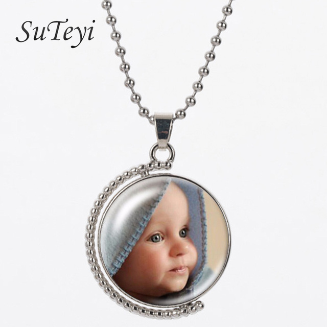 Suteyi design double side personalized photo custom necklace vintage suteyi design double side personalized photo custom necklace vintage rotatable glass pendants necklaces gift for family aloadofball Images
