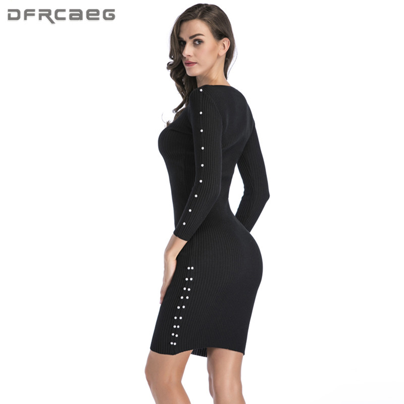 Knitted Woman Bodycon Dress With Beading 2018 Winter Fashion Long Sleeve Sexy Woman Sweater Pencil Dresses Casual Black Vestido long sleeve bodycon dress with slits