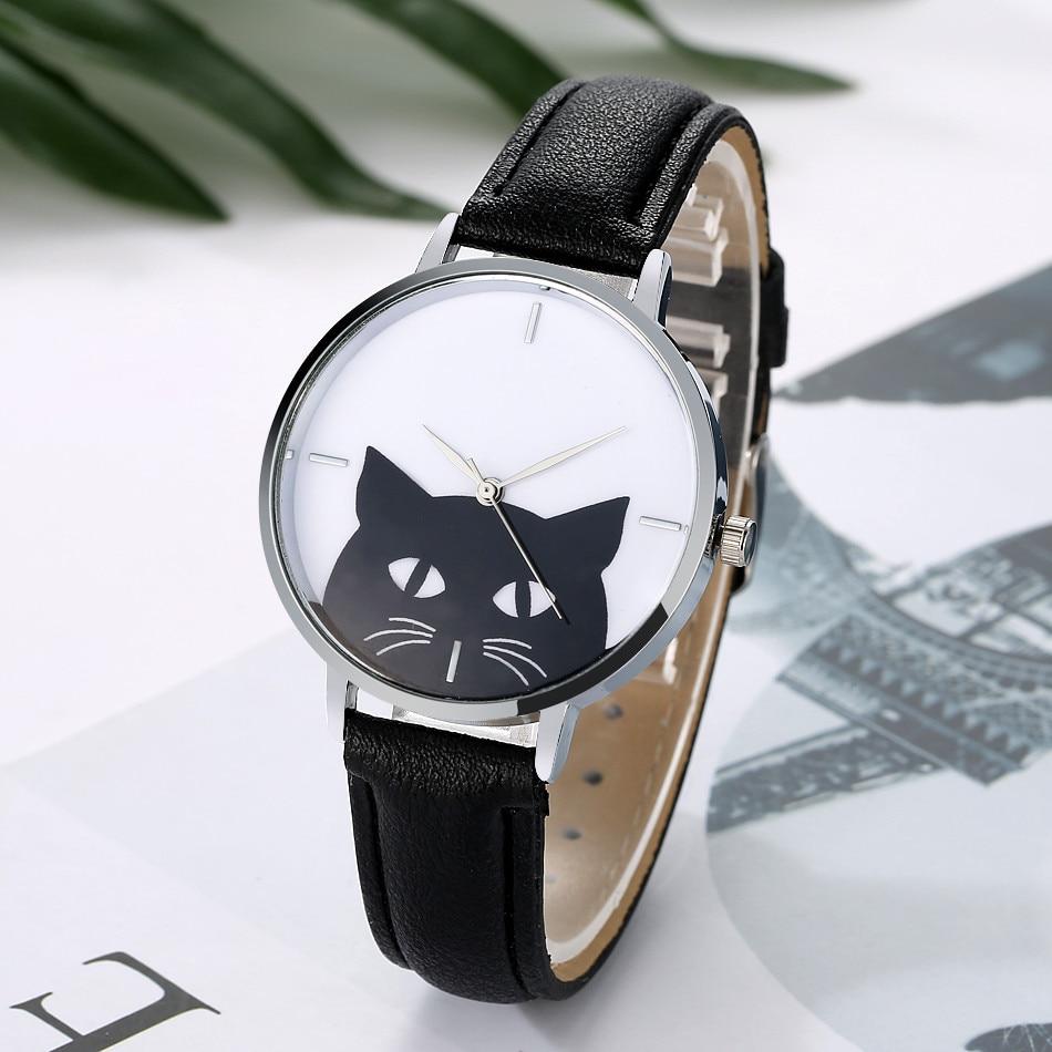 Kol Saati Cute Glasses Cat Women's Watch Analog Quartz Dial Ladies Watch Casual Fashion Woman's Watch Gift Dames Horloges #W