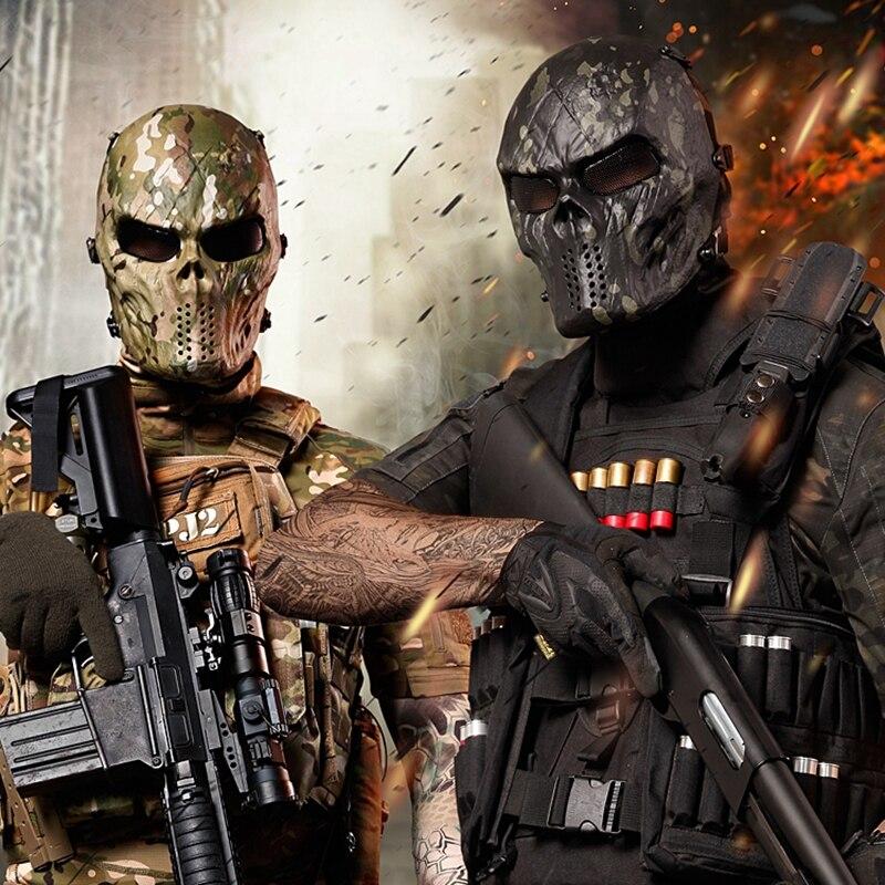 Tactical Skull Masks CS Full Face Mask Metal Mesh Eye Shield Halloween Airsoft Hunting Field Equipment