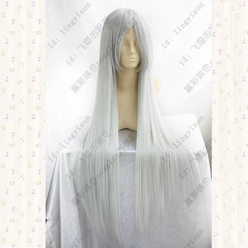 Anohana. Honma Meiko, 100 cm, gris argent longue perruque cosplay droite cheveux synthétiques + casquette de perruque