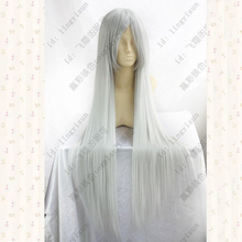 Anohana.Honma Meiko,100cm,Silver Grey long straight cosplay wig synthetic hair +wig cap все цены