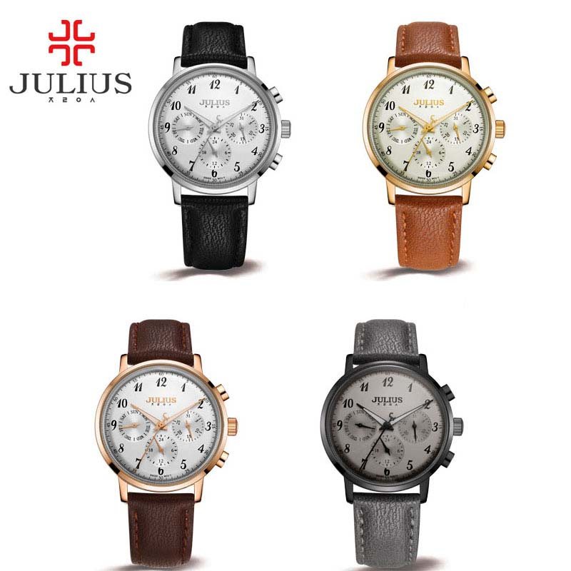 JULIUS  Lady Watches Women Genuine Leather Strap Montre Femme Dress Wrist Waterproof Women Whatch Clock