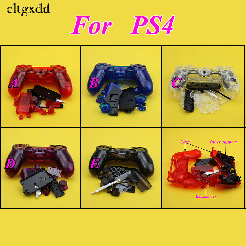 Cltgxdd Clear Housing Case Button Key Kit For PS4 Controller Transparent Shell Case Cover For Playstation 4 Gamepad Replacment