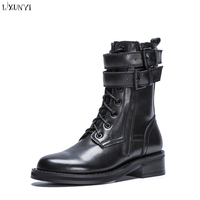 LXUNYI Autumn Winter Genuine Leather Motorcyle Boots Women Casual Buckle High Quality Ankle Length Martin Boots Zipper Lace up
