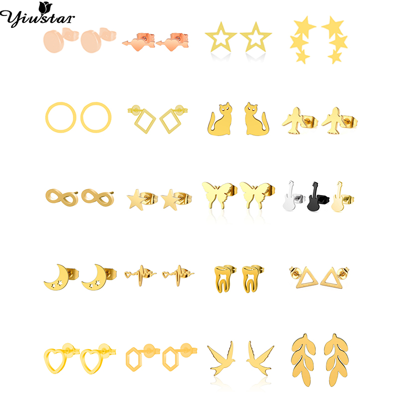 Yiustar Geometric Stainless Steel Moon Earrings for Kids Children Cute Star Women Girls Animal Cartoon Jewelry