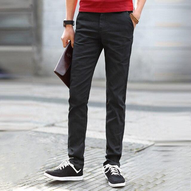 Высокое Качество Мода Повседневная Хлопок Тонкий Прямой Дешевые Мужские Брюки Сукна Брюки Мужчины Брюки UK356