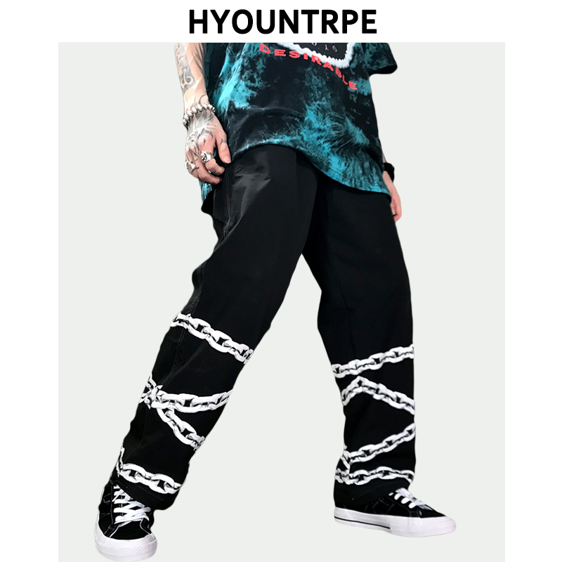 Fashion Bottom Chain Printed Pants Men Hip Hop Straight Pant New Casual Drawstring Loose Fit Pants Swag High Streetwear Trousers