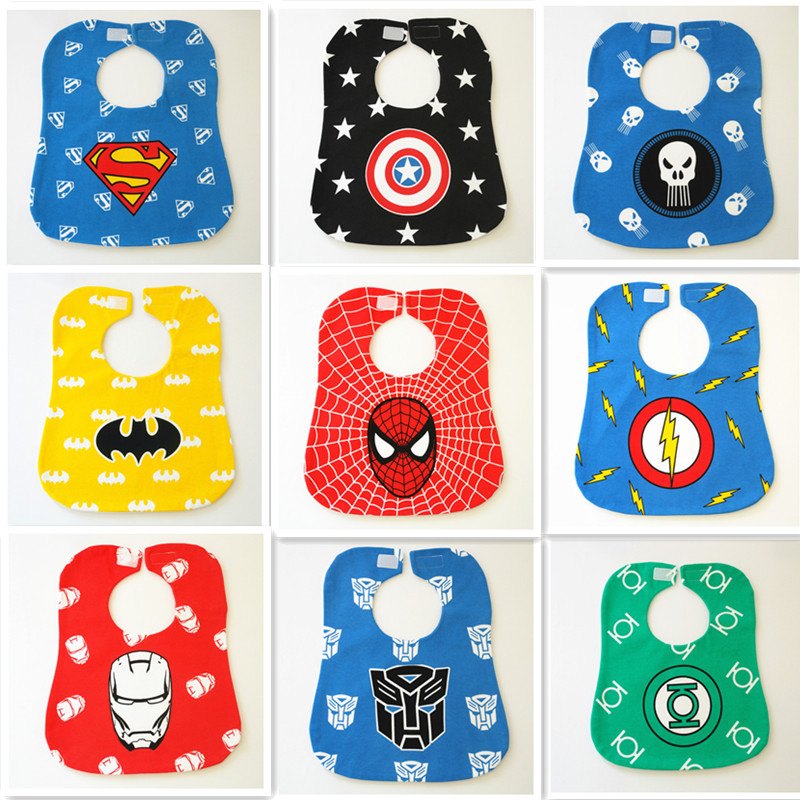 Superhero Cartoon Baby Bibs Newborn Kid Saliva Bibs Babadores Waterproof Bibs Burp Clothes Infant bandanas scarf cravat pinafore