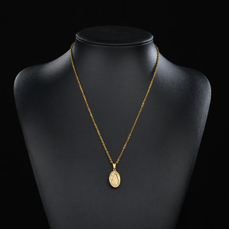 Stainless Steel Virgin Mary Pendant O Shape Chain Christ Child Necklace Goddess Catholic Choker Necklace For Women