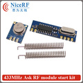 2sets/lot 433MHz ASK RF Module Kit(2pcs STX882 Transmitter + 2pcs SRX887 Receiver  +4pcs Nickel Plated Spring Antenna)
