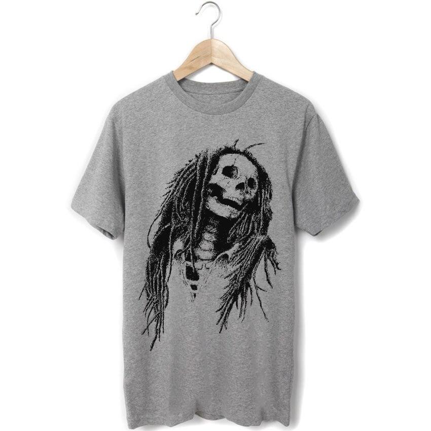 Bob marley reggae mode lion noir et blanc crâne conception rasta mode  hommes femmes taille punk rock t-shirt style décontracté a6000193b71e