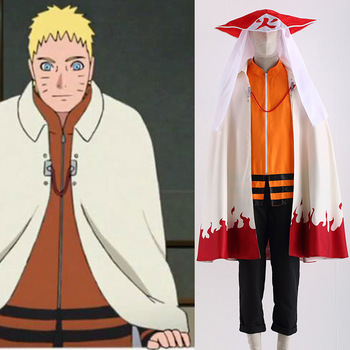 Japanese Anime The Last Naruto the Movie the 7th Hokage Boruto Uzumaki Cosplay Costume Cloak Set With Hat For Halloween