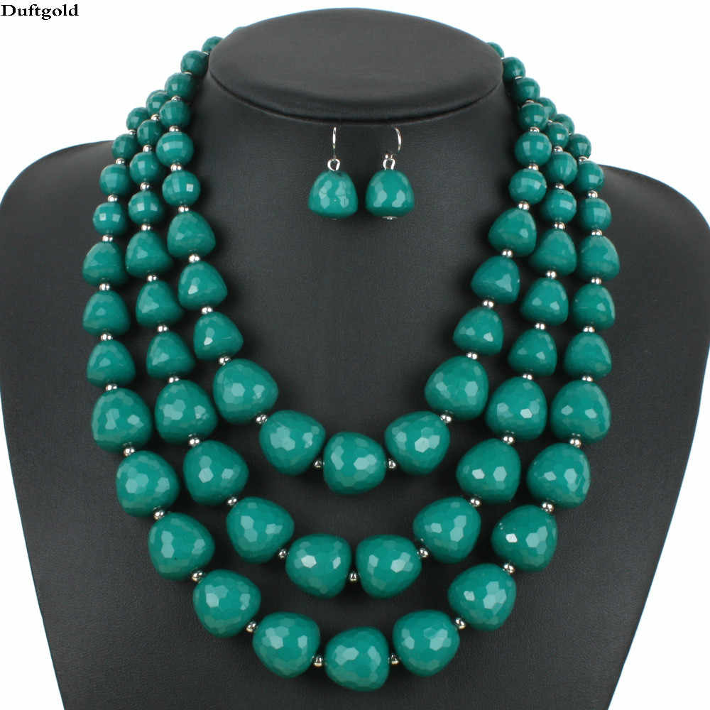 2019 New Multilayer Acrylic Necklace Set Africa Beads Jewelry Sets For Women Wedding Necklaces Earrings Grandes collier mariage