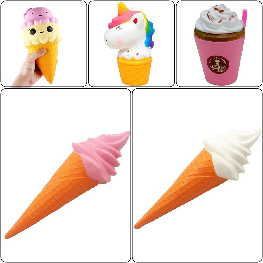 Honey Milk Ice Cream Squishy Jumbo Unicorn Chocolate Slow Rising Phone Straps Scented Bag Charm Soft Squeeze Kid Funny Toy Gift