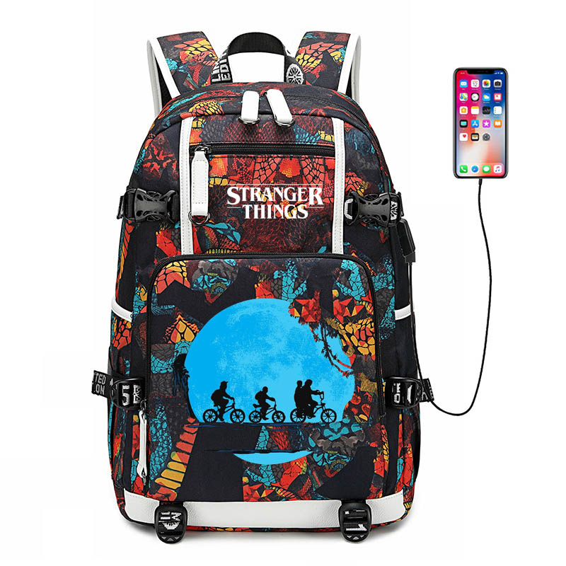 Stranger Things 3 USB Port Backpack Bag Laptop Travel Bag Rucksack Bag Cosplay School Book Bag Gift