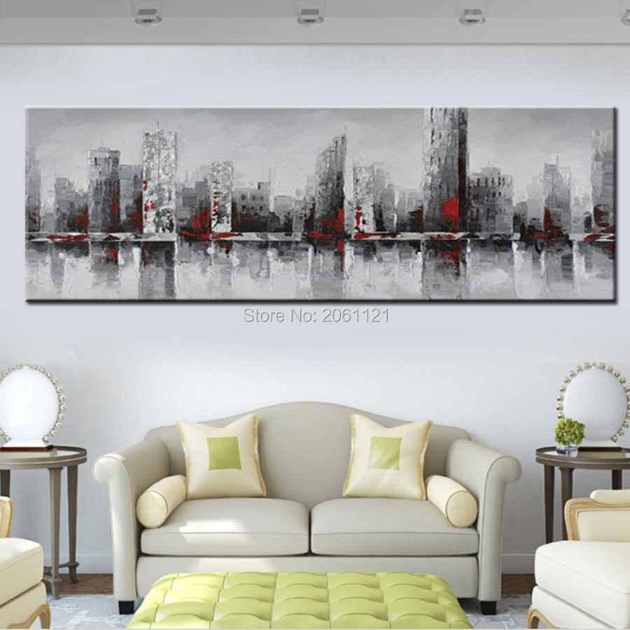 hand painted huge wide abstract city wall painting new york beige gray oil painting on canvas wall decorations