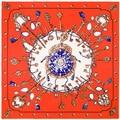 100cm Retro Brand H Twill Silk Square Scarf Women 2017 High Quality Vintage Metal Key Chain Print Silk stole Shawl Femal A210