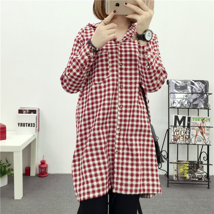 Brand Yan Qing Huan 2018 Spring Long Paragraph Large Size Plaid Shirt Fashion New Women's Casual Loose Long-sleeved Blouse Shirt 8
