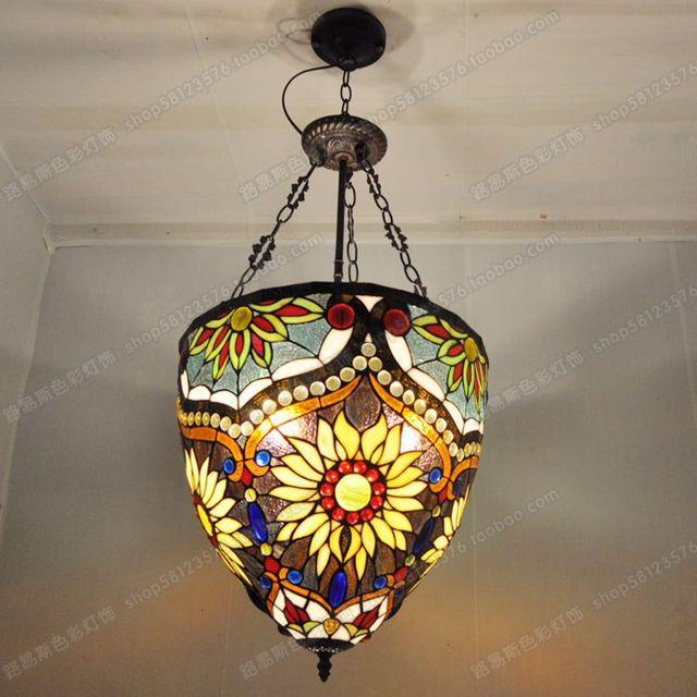40cm Anti British Pub Shells Tiffany Chandelier Decorative Glass Lighting Fixtures Antique European Clubs