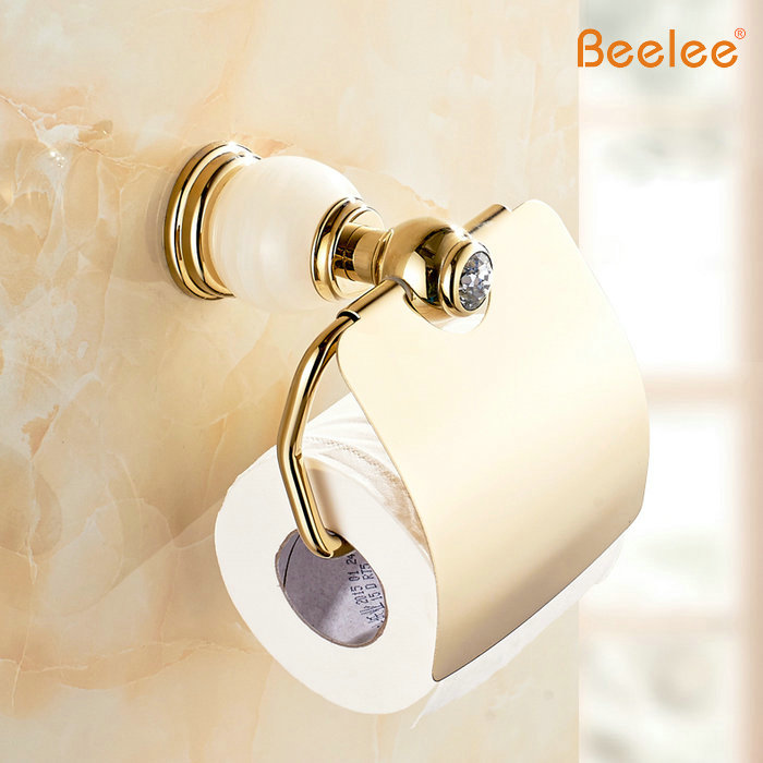 Beelee BA8311G Gold and Diamond Paper Box Roll Rolder Toilet Gold Paper Holder Tissue Box Bathroom Accessories kitbun6101bwk390 value kit toilet tissue 9quot diameter bun6101 and boardwalk disposable apron bwk390