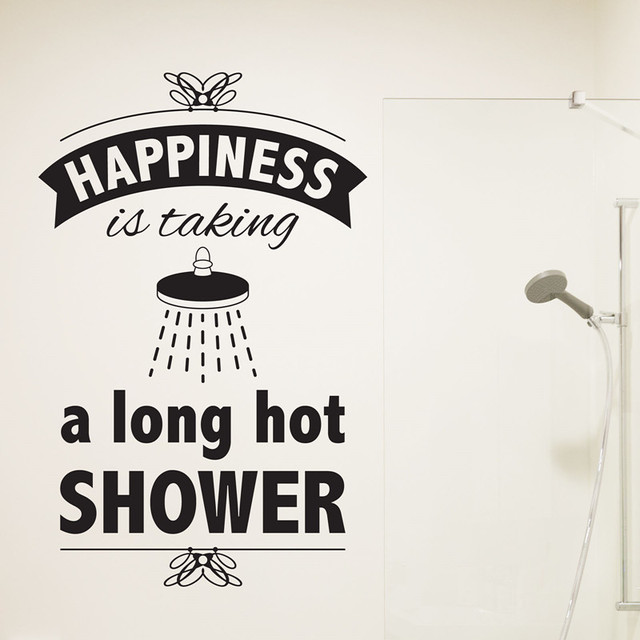 bathroom wall decal vinyl sticker happiness is taking a long hot shower quotes wallpaper - Bathroom Quotes