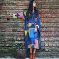 Nueva primavera las mujeres dress maxi dress v-cuello de la manga del batwing abstracto impresión de algodón de lino étnico túnica vestigios media pantorrilla elbise