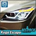 UNIÃO Styling para Faróis Ford Escape 2013-2015 Ford Kuga LED DRL Farol Lente Duplo Feixe H7 HID Xenon Acessórios do carro