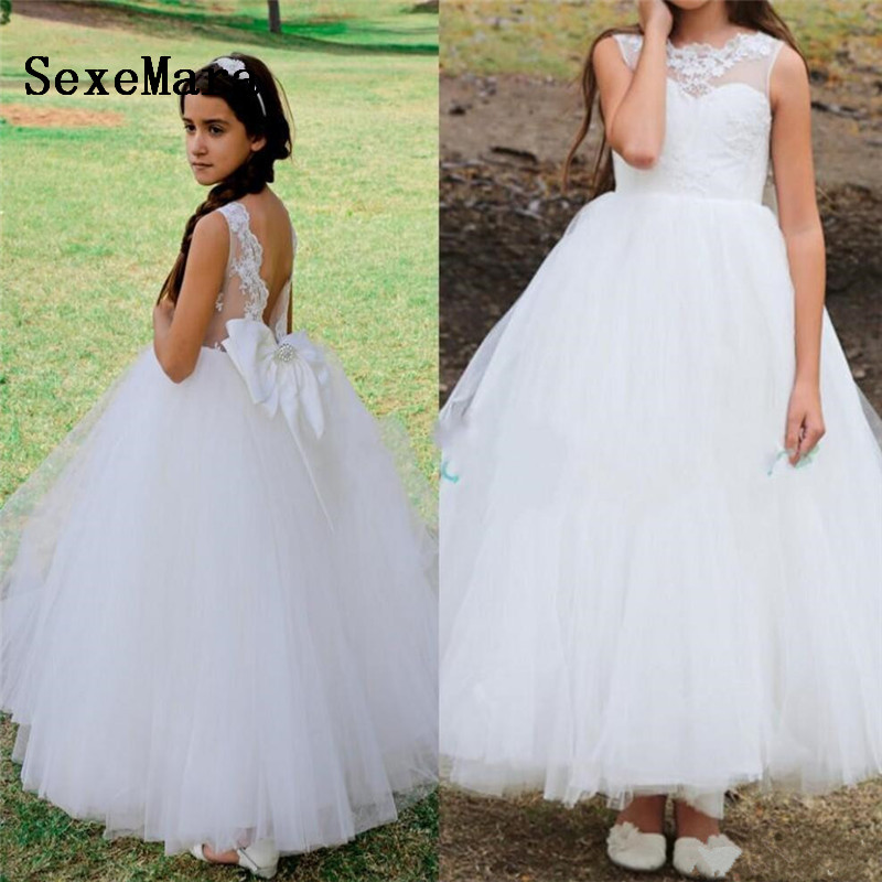 High Quality White Flower Girls Dresses for Wedding Lace Applique Girls Birthday Party Gown Pageant Dress Custom Made SizeHigh Quality White Flower Girls Dresses for Wedding Lace Applique Girls Birthday Party Gown Pageant Dress Custom Made Size