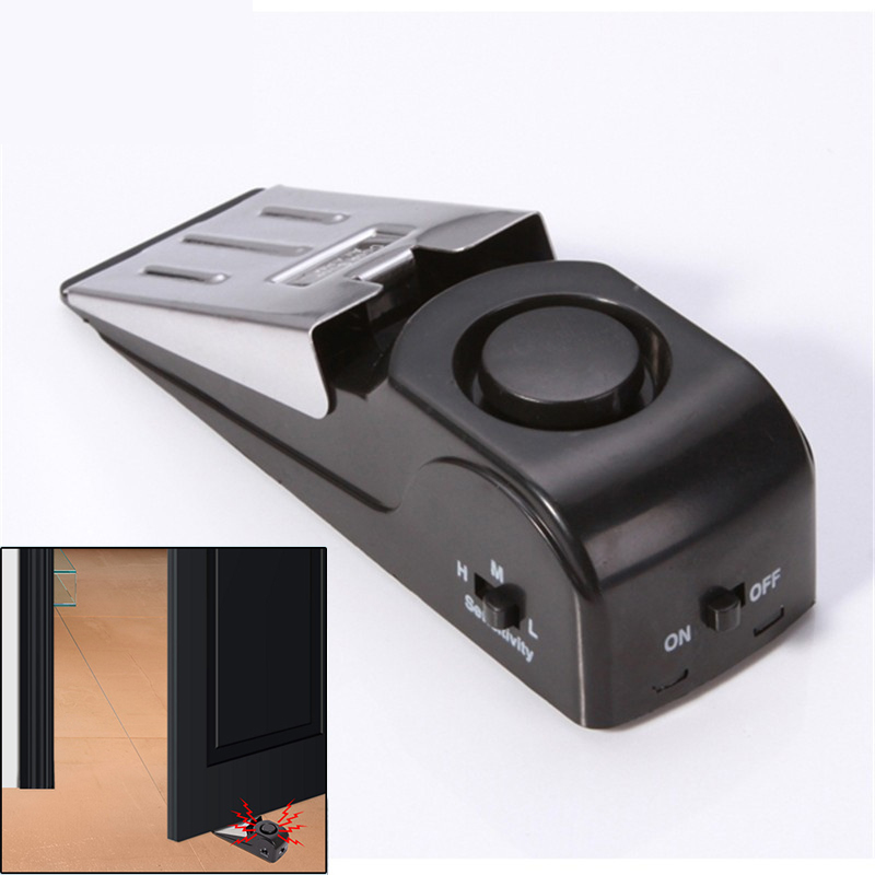 125 DB Wireless Door Sensor Triggered Stop Security Alarm System Home Wedge Shaped Door Topper Alarm Block Blocking System