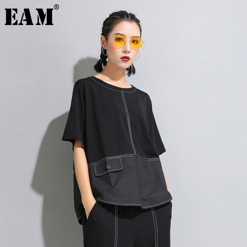 [EAM] 2020 New Spring Summer Round Neck Half Sleeve Black Button Split Joint Loose Big Size T-shirt Women Fashion Tide JW599