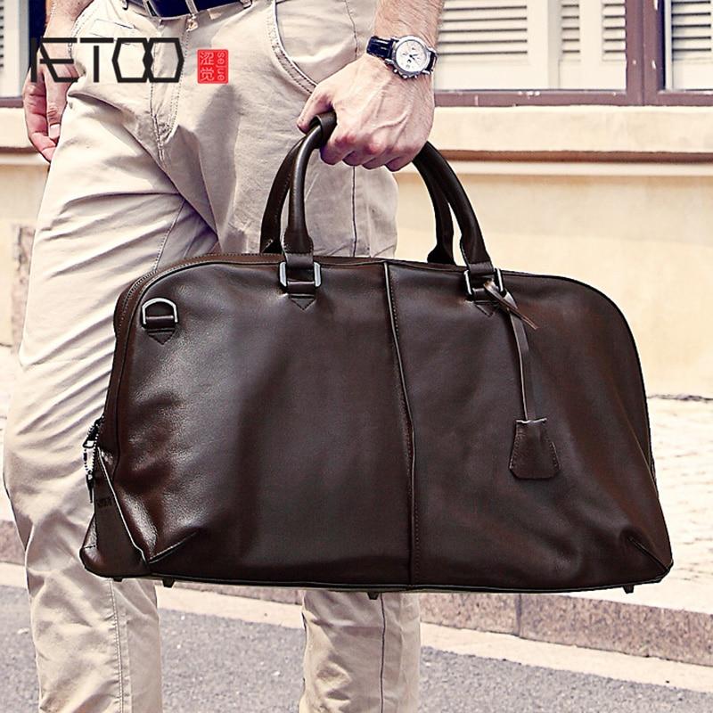 AETOO Men's Travel Bag, Leather Handheld Single Shoulder Large Capacity Luggage Bag, Long Short Trip Travel Business Luggage Bag