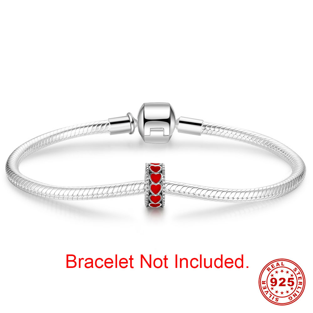 GRACE MOMENTS Pure 925 Sterling Silver Hot Love Within Spacer, Red Heart CZ Beads Fit Original Bracelet Necklace