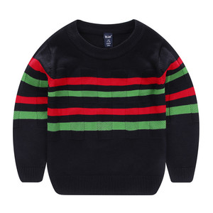 Image 2 - Wei Juan New Big Boys Spring Autumn Winter Juniors Full Cotton Striped Pullover Thick  Knitted 7 11yrs Casual Quality Sweaters