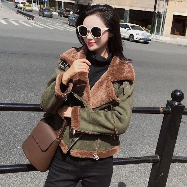 Fashion Female Turn-Down Collar Warm Outerwear Women Long Sleeve   Suede   Coat Winter Faux   Leather   Fur Short Jacket