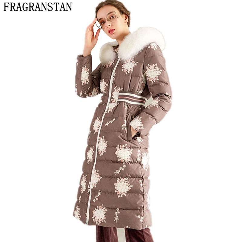 Winter Women High Quality Natural Fox Fur Collar 90% White duck Down Jacket Casual Vestidos Flower Print Parkas Ladies Coat Y249