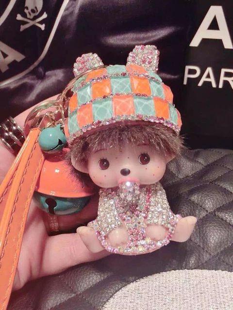 Monchhichi мультфильм брелок для ключей прекрасная кукла подвеска брелок роскошный подарок для подруги женщины сумку очарование брелки m16