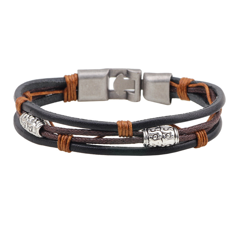 Tiger Totem Magnetic bracelet with geniune leather and alloy charm leather bracelet metal bracelet with leather Free shipping