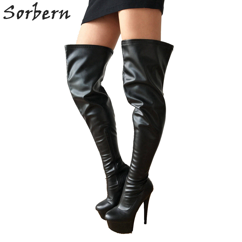 newest 6729d 1a842 US $127.2 20% OFF|Sorbern 15Cm Ultra High Heels Boots Women Thick Platform  Personalized 80Cm Shaft Length Crotch High Fetish High Heel Runway Boot-in  ...