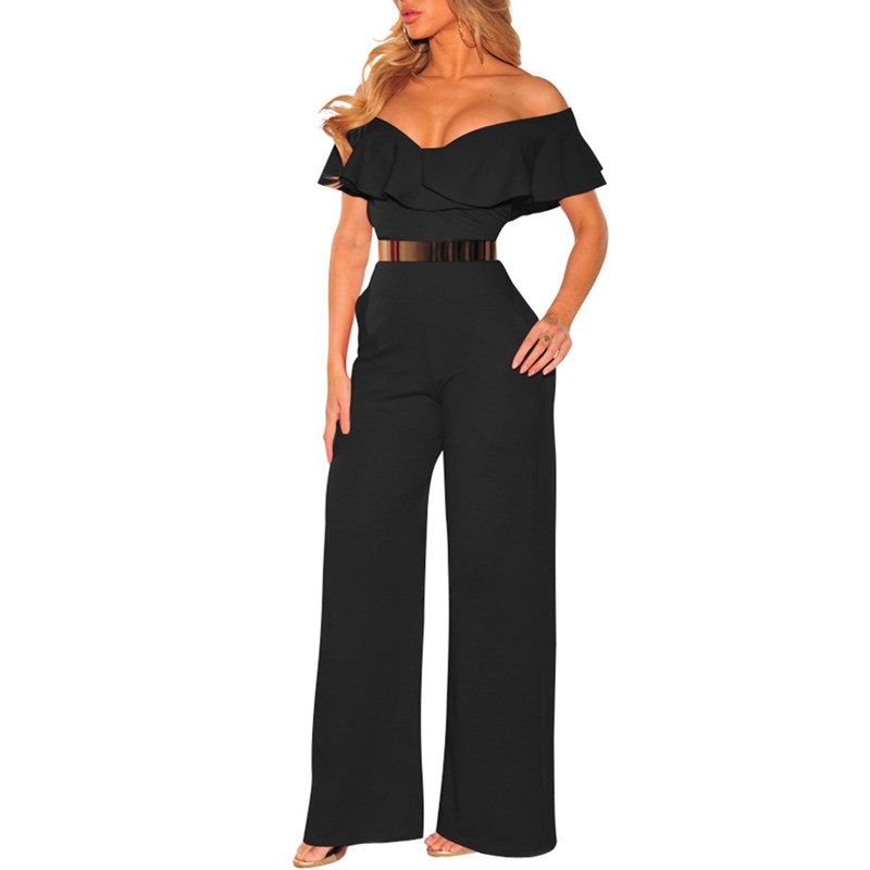 2019 Women Off Shoulder   Jumpsuit   Casual Ruffles Solid Overalls Sexy Backless Wide Leg Playsuit