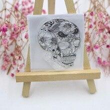 Skull Bones Flowers Seal Transparent Clear Stamp DIY Silicone Seals Scrapbooking Album Decoration Kids Fun stamp Sheets sc181